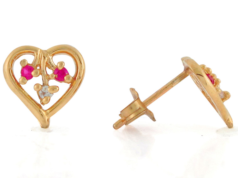 Real and Diamond Ladies Gorgeous Heart Post Earrings (JL#10813)