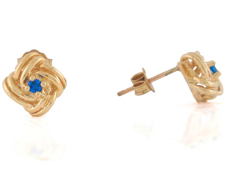 Real Sapphire Ladies Celtic Knot Design Post Earrings (JL#10816)