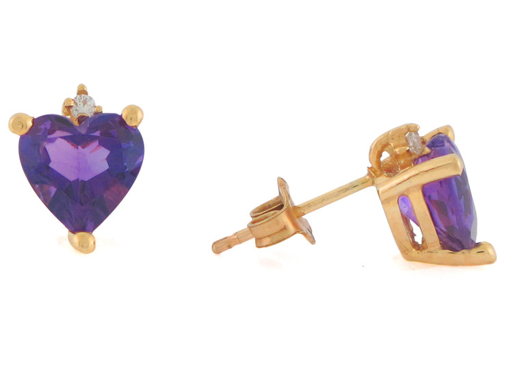 Heart Shaped Real and Diamond Set Post Earrings (JL#10819)