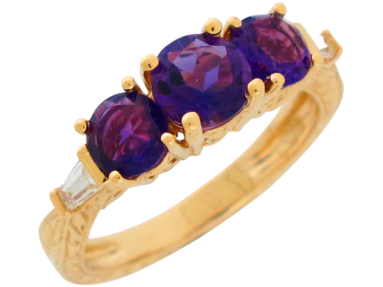 Gold Three Stone with White CZ Accents Anniversary Ring (JL#10869)