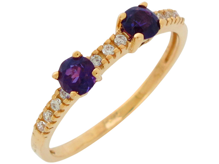Gold and White CZ Accented Ladies Thin Band Simple Ring (JL#10872)