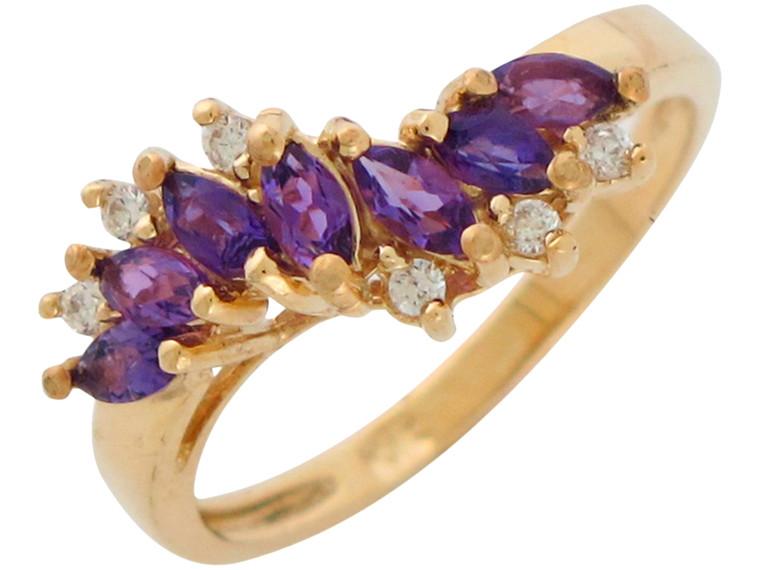 Gold Genuine and Diamond Ladies Elegant Wave Design Ring (JL#10877)
