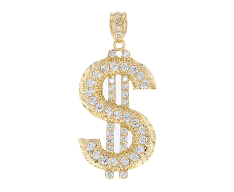 Hip-Hop Iced Out Large Heavy Dollar Sign Pendant (JL#11825)