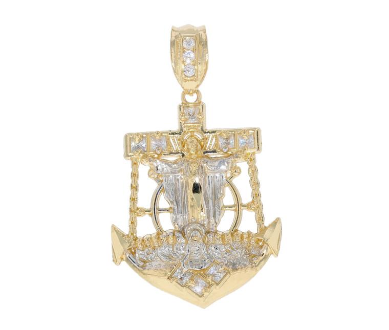 Studded Mariners Crucifix Anchor Charm Pendant (JL#11795)