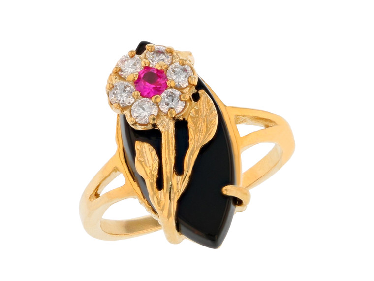 Ladies and Shimmering CZ Classy Flower Ring (JL#11731)