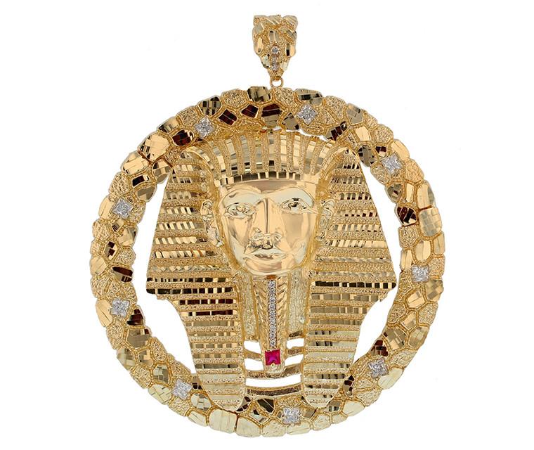 Large Gold Nugget Egyptian Pharaoh Heavy Frame Pendant (JL#11590)