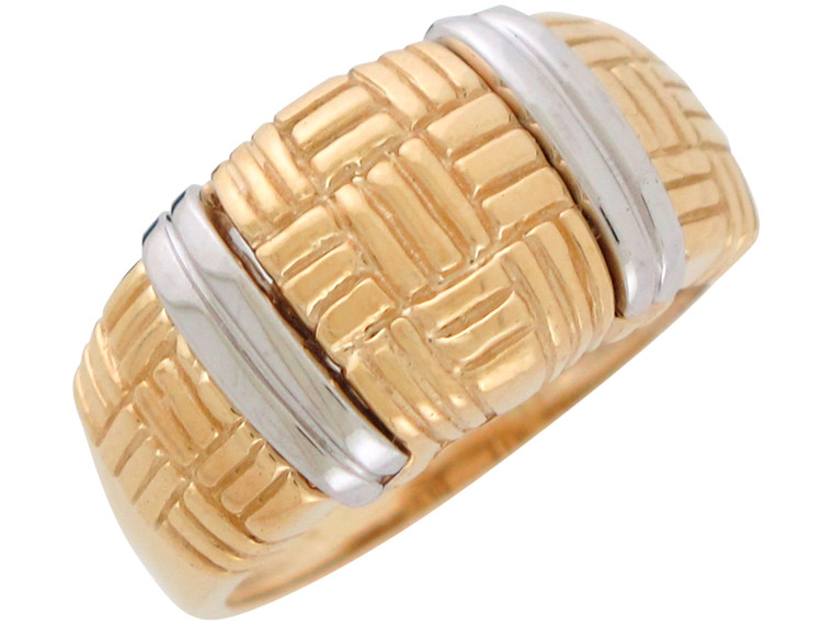 Two-Tone Stunning Basket Weave Checkered Design Wide Top Ring (JL#10959)