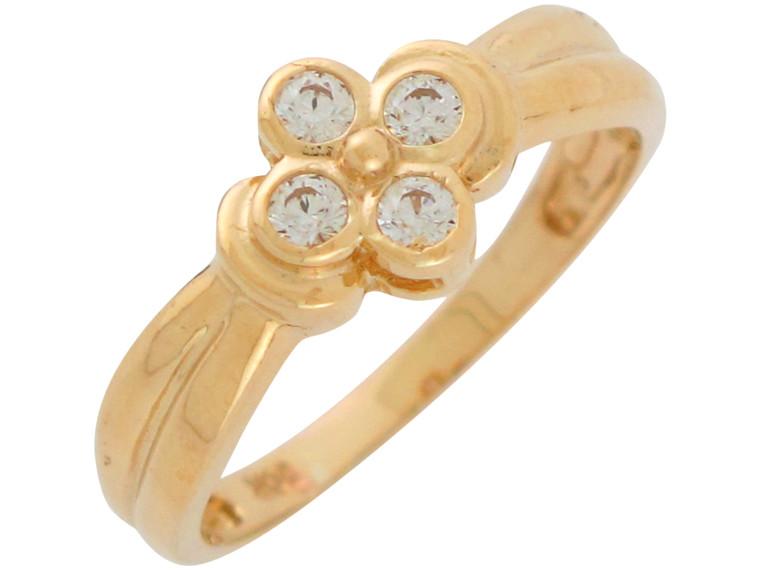 Cute Bezel Set Ladies 4 Leaf Clover Lucky Ring (JL#10968)