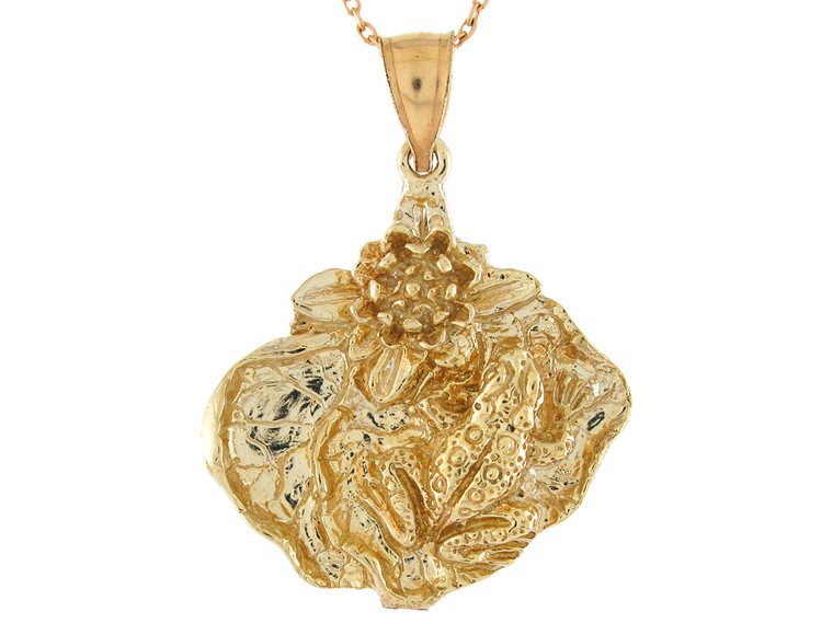 Adorable Water Lily Pad and Frog High Detail Pendant (JL#10752)