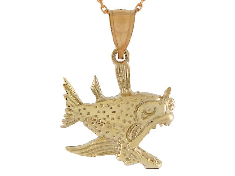 High Polish Sea Life Fishing Scary Deap Sea Fish Design Pendant (JL#10756)
