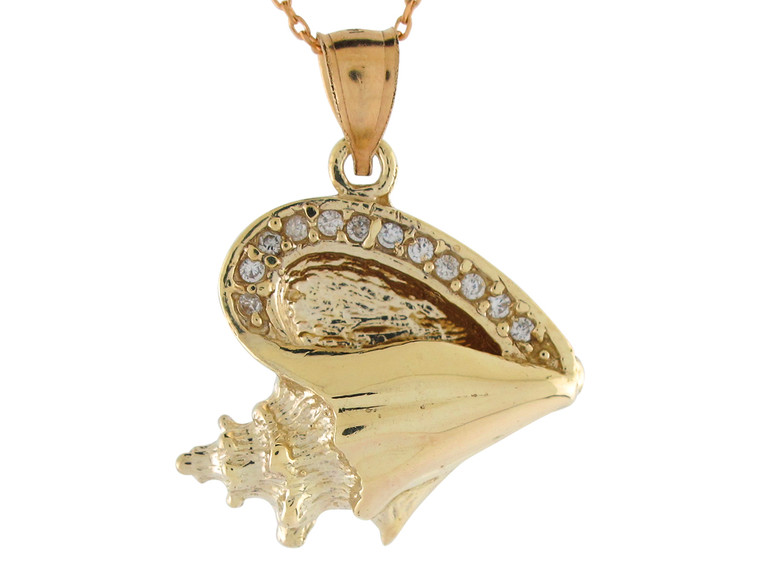 High Polish Brilliant Accented Seashell Conch Pendant (JL#10766)