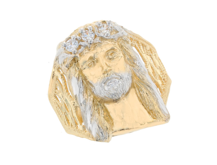 Stunning Jesus Head with Accents Mens Ring (JL#11682)