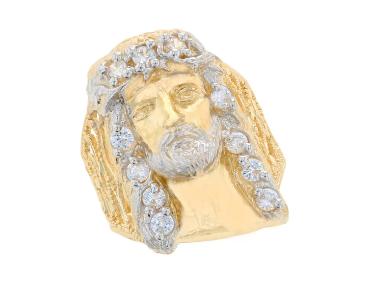 Impressive Jesus Head with Accents Mens Heavy Ring (JL#11684)