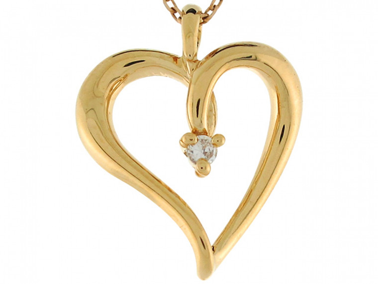 Simple Accented Floating Heart Slide Pendant (JL#6211)