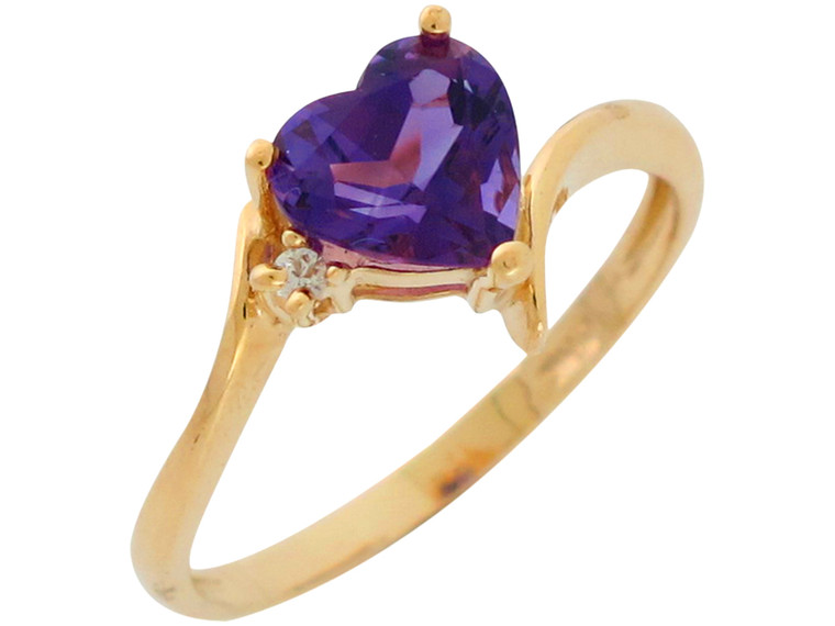 Gold Genuine Heart Cut and Diamond Accent Ladies Fancy Ring (JL#2606)