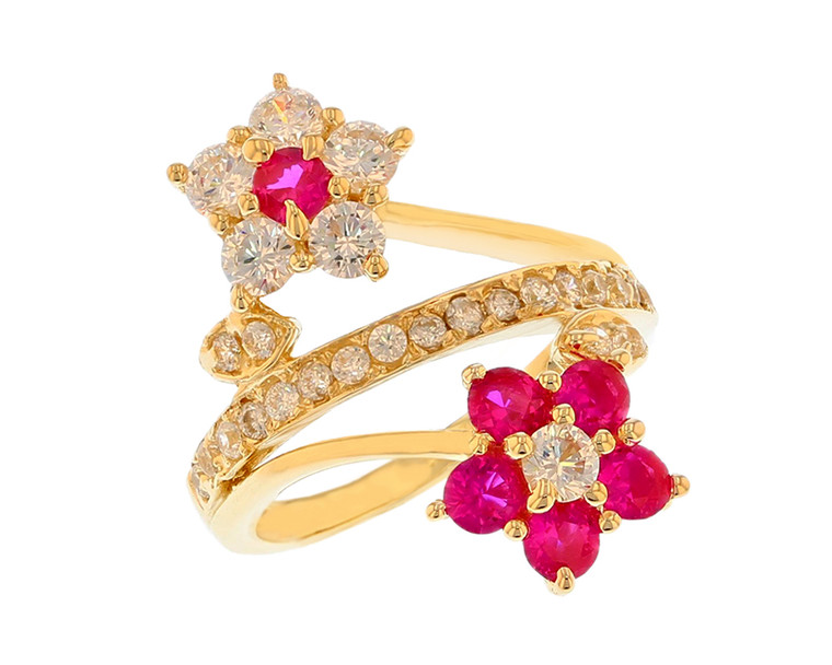 Beautiful Double Flower Ring with Center Band (JL#11575)
