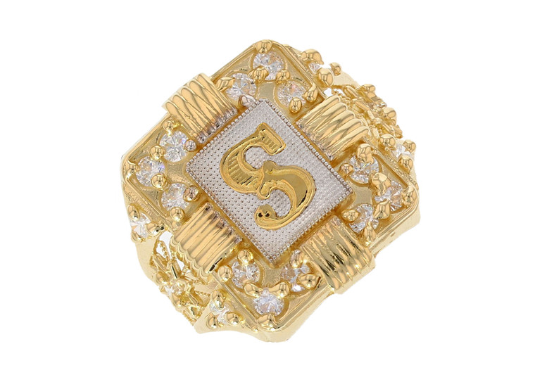 Mens White CZ Accented Letter Initial Ring (JL#12016)