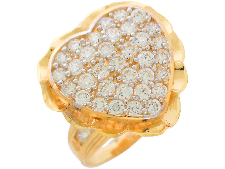 Gold Studded Ladies Wide Top Heart Love Cocktail Ring (JL#10885)