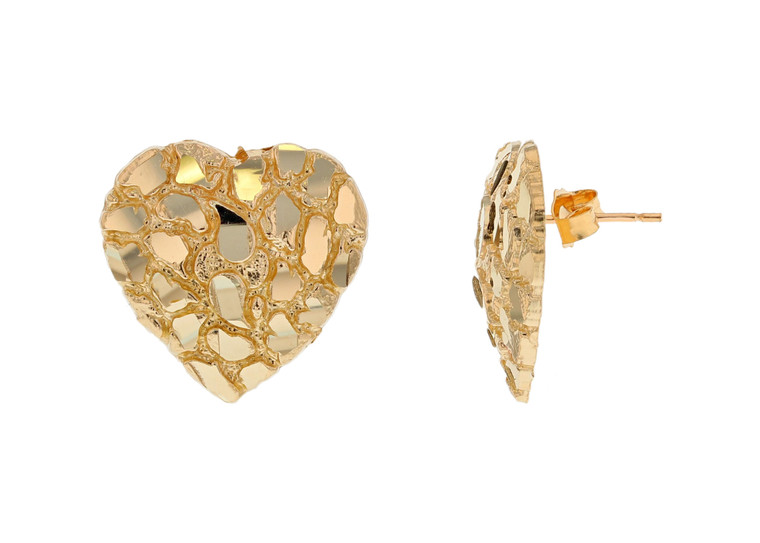 Dazzling Heart Gold Nugget Pushback Earrings (JL#11997)
