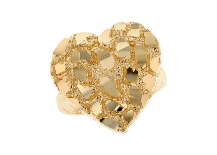 Dazzling Heart Gold Nugget Ring (JL#11997)