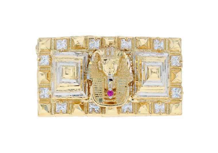 Egyptian Pyramid Pharaoh Iced Out Two Finger Ring (JL#11679)