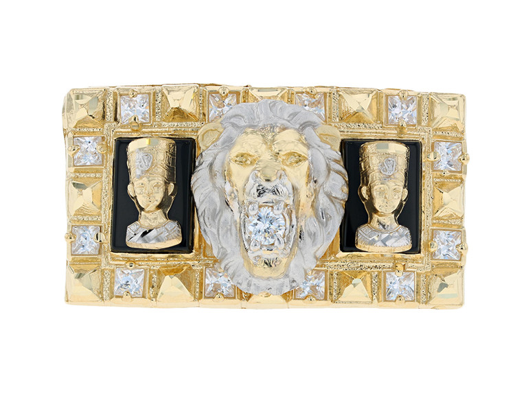 Powerful Lion and Egyptian Queen CZ Two Finger Ring (JL#11680)