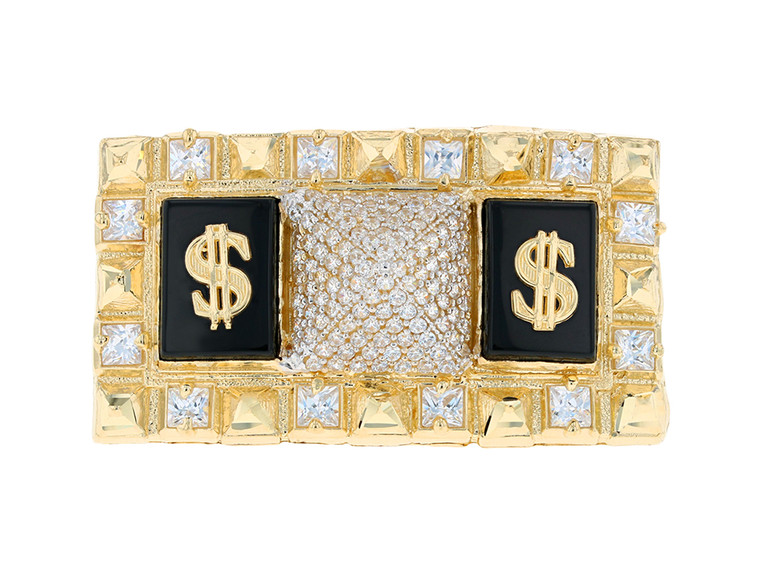 Iced Out Egyptian Pyramid Dollar Signs Two Finger Ring (JL#11681)