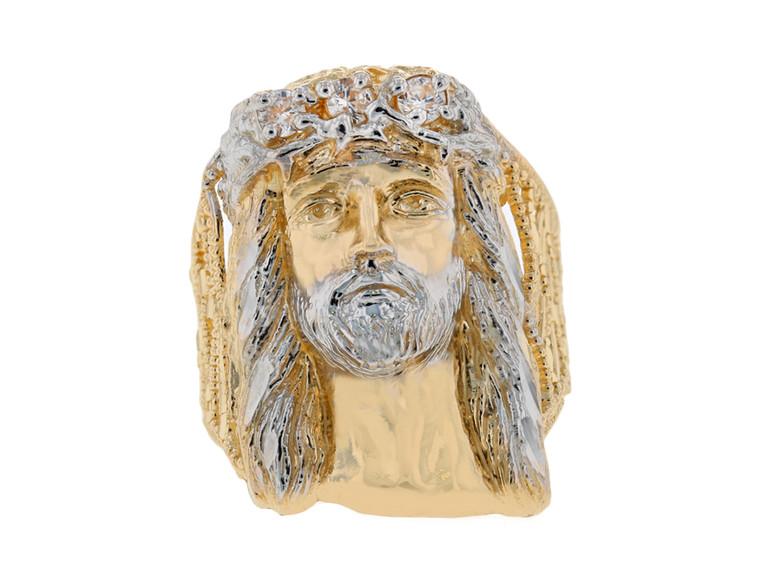 Anillo Ancho Religioso Diamantado Para Hombre de Jesus con Circonita En de (JL#11685)