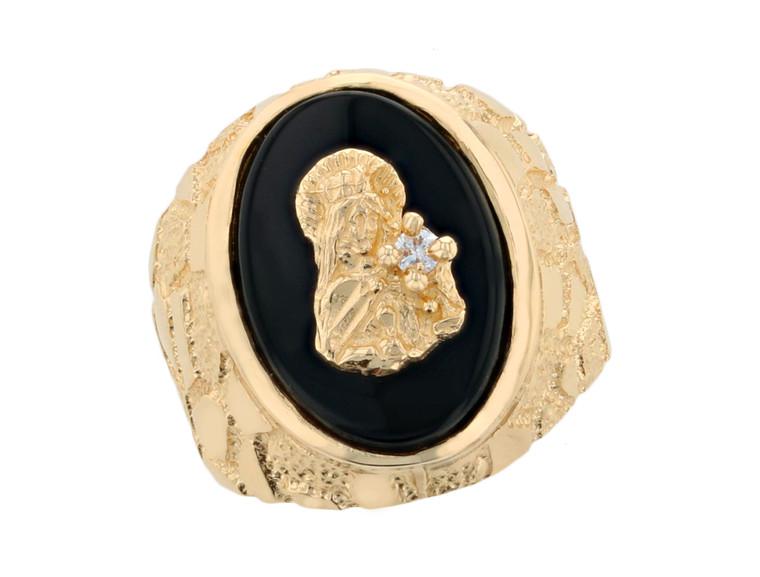 Large Saint Barbara Mens Gold Nugget Heavy Ring (JL#11686)