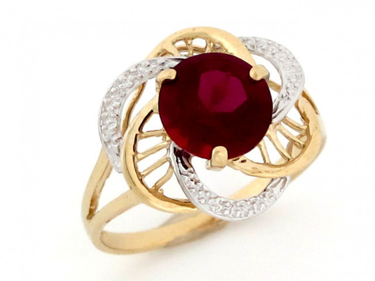 Two-Tone Gold January Birthstone Ring (JL#2428)
