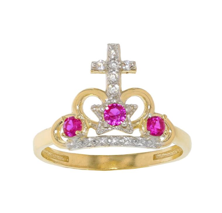 15 Años Quinceañera Cross and Crown Ring (JL#11977)