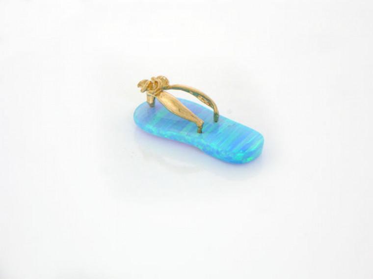 Gold Flip Flop Sandal Shoe Pendant (JL#1424)