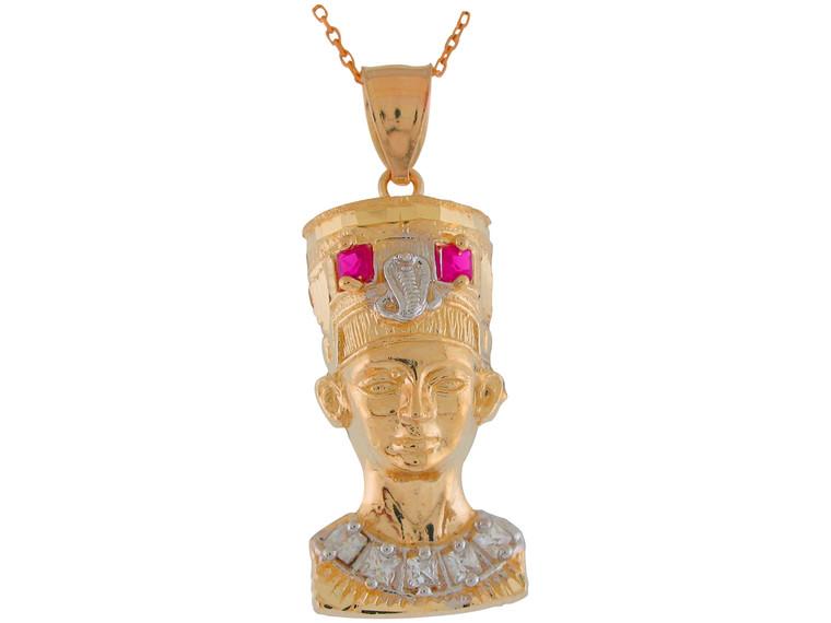 Large Two-Tone Gold Egyptian Queen Nefertiti CZ Set Pendant (JL# P11028)