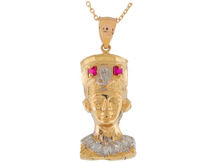 Two-Tone Gold Egyptian Queen Nefertiti White CZ Accented Pendant (JL# P11029)
