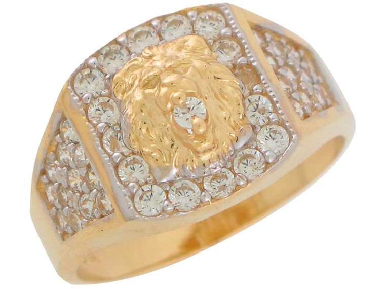 Two-Tone Gold Elegant Cluster Accented Mens Lion Head Ring (JL#11030)