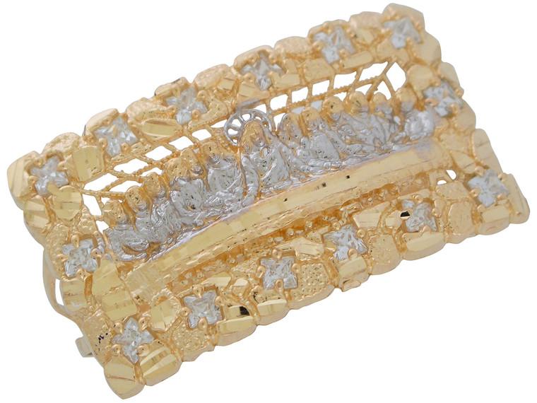 Two-Tone Gold Huge Nugget Design Last Supper Two Finger Ring (JL# R11034)