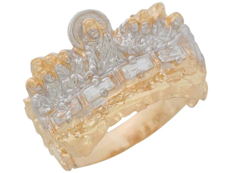 Two-Tone Gold Nugget Design Last Supper Mens Impressive Ring (JL#11035)
