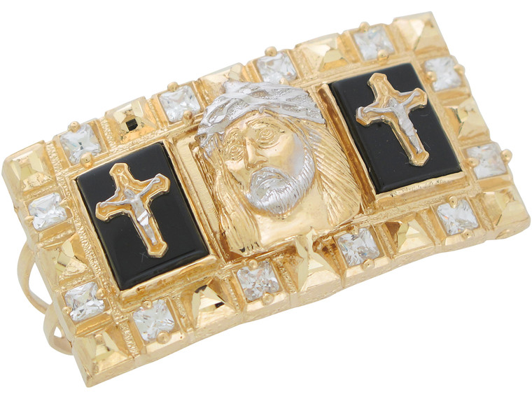 Two-Tone Gold and CZ Magnificent Jesus Crucifix Two Finger Ring (JL# R11039)
