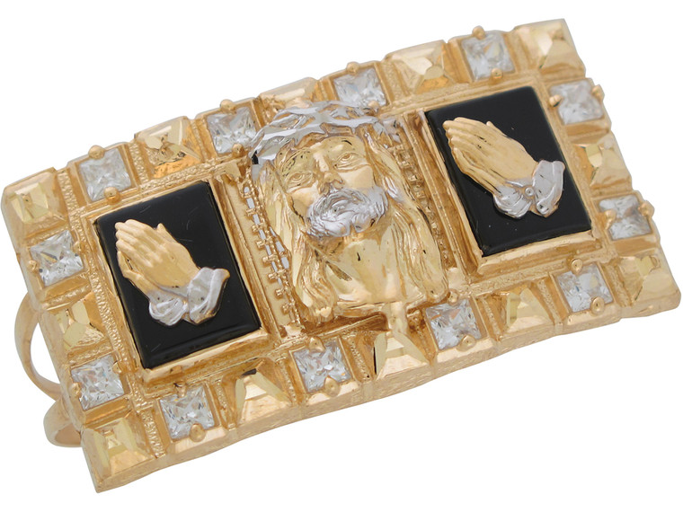Two-Tone Gold and CZ Praying Hands and Crucifix Two Finger Ring (JL# R11040)