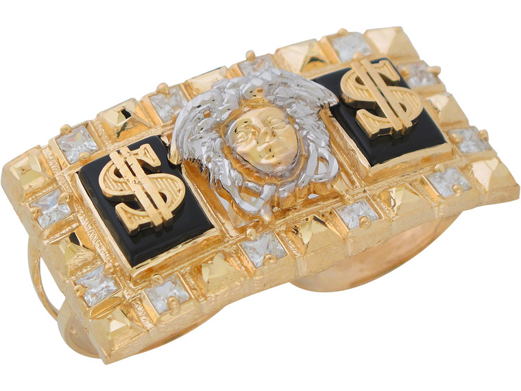 Two-Tone Gold and CZ Dollar Sign and Medusa Two Finger Ring (JL#11041)