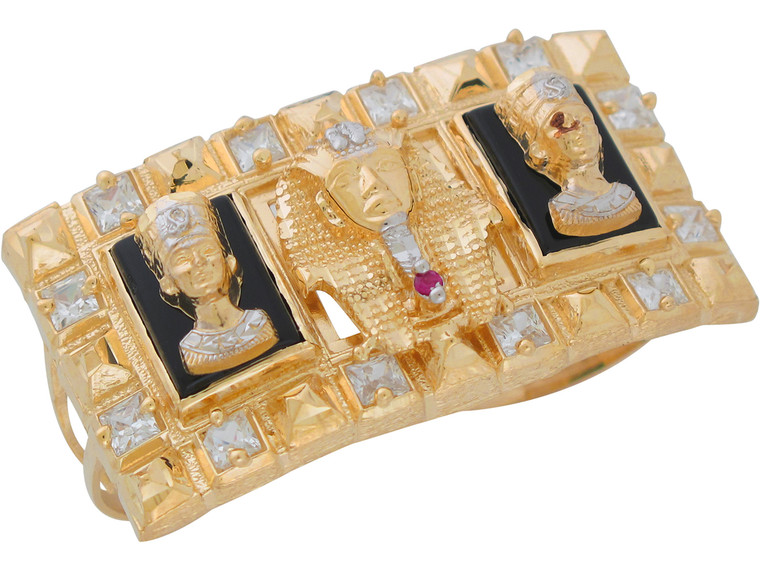 Two-Tone Gold King Tut Queen Nefertiti and CZ Two Finger Ring (JL# R11043)