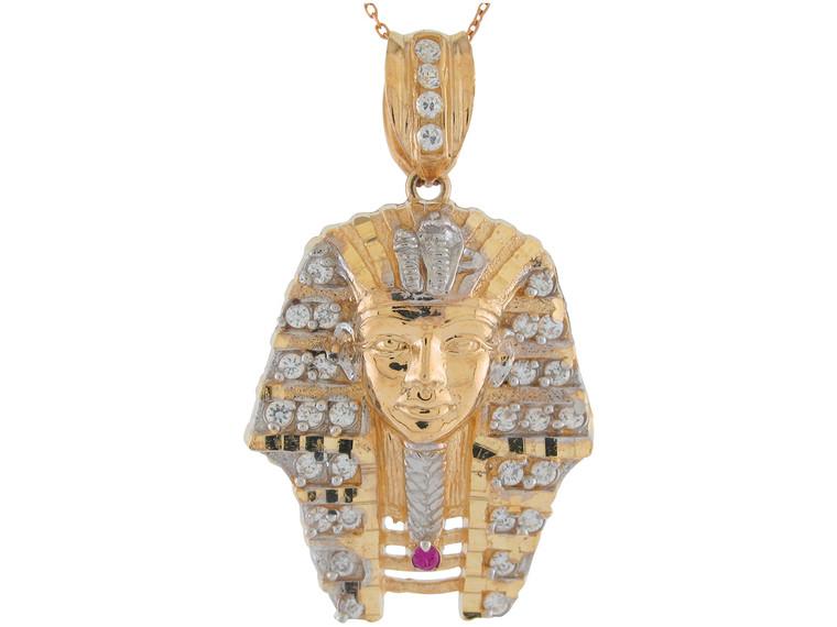 Two-Tone Gold Egyptian King Tut Brilliant Pendant (JL#11054)