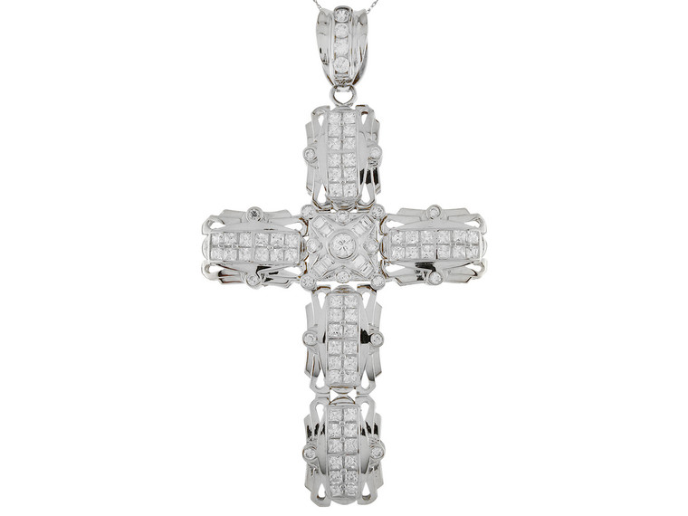 Accented Huge Latin Segment Cross Pendant (JL#9877)