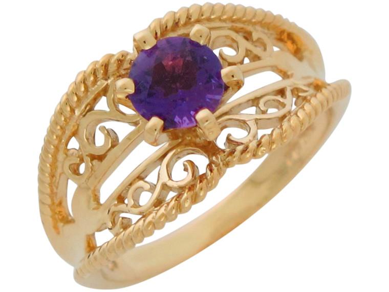 Natural Ladies Elegant Wide Top Filigree Ring (JL# R10897)
