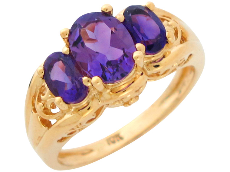 Gold Natural Ladies Three Stone Anniversary Filigree Ring (JL# R10903)