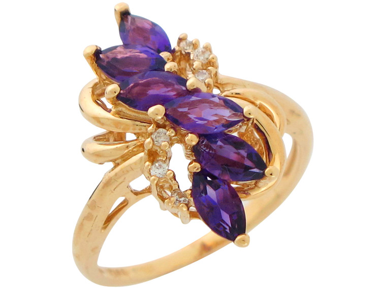 Real Natural and Diamond Accented Ladies Ring (JL# R10904)