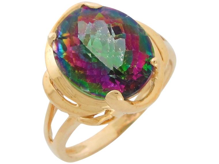 Gold Real Ladies Wide Top Modern Border Design Ring (JL#10911)