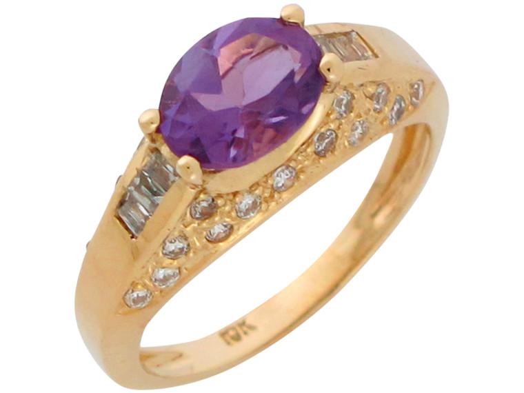 and White CZ Ladies Vintage Look Ring (JL#10912)