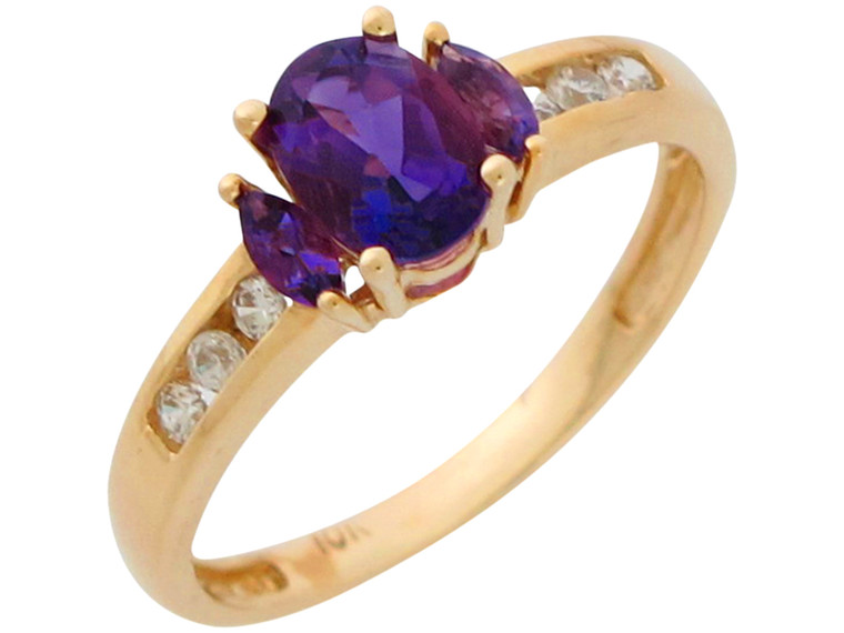Natural and White Topaz Ladies Engagement Ring (JL#10913)