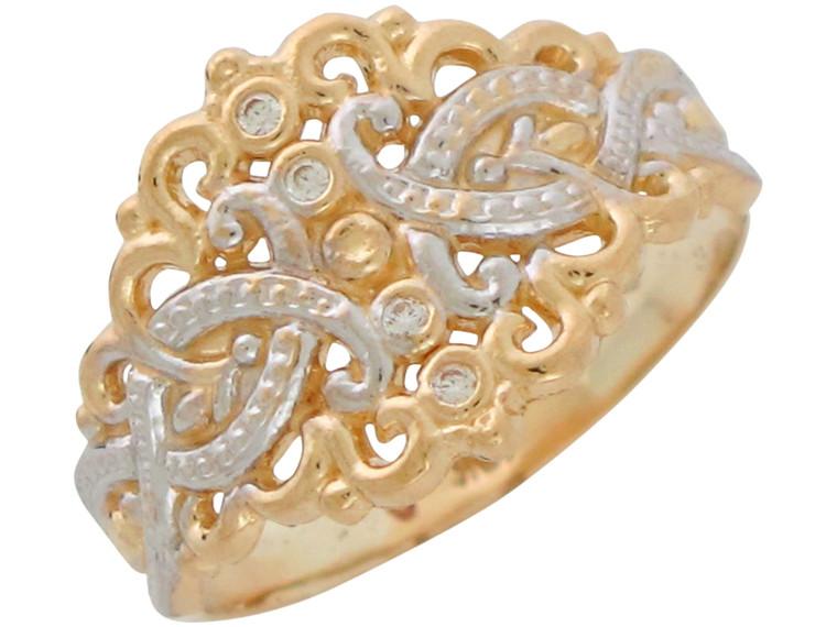 Two-Tone Gold Genuine Diamond Ladies Elegant Wide Top Filigree Ring (JL# R10905)